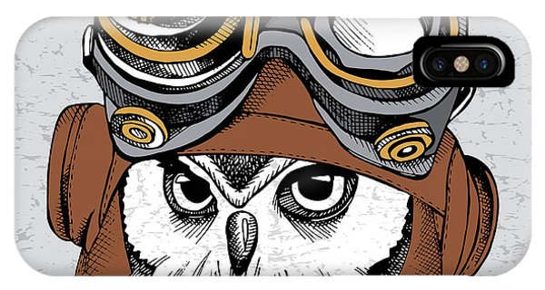 Vector iPhone Case - Owl Portrait In A Steampunk Helmet by Afishka