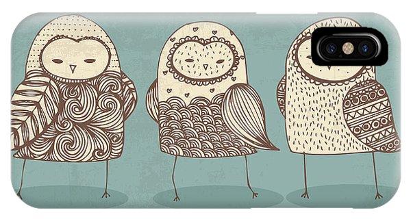 Avian iPhone Case - Owls Illustrationvector by Lyeyee