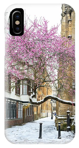 IPhone Case featuring the photograph Oxford Almond Tree Blossom In The Snow by Tim Gainey