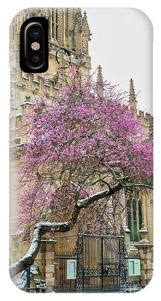 IPhone Case featuring the photograph Oxford Almond Tree Blossoming In The Snow by Tim Gainey