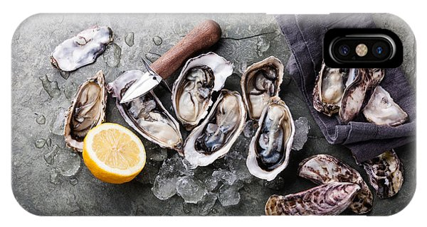Eating iPhone Case - Oysters On Stone Plate With Ice And by Lisovskaya Natalia