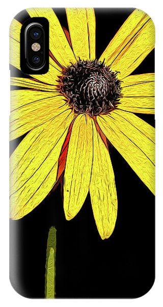 IPhone Case featuring the mixed media Painted Black-eyed Susan Portrait by Onyonet  Photo Studios