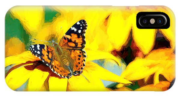 IPhone Case featuring the photograph Painted Lady Butterfly Van Gogh by Don Northup