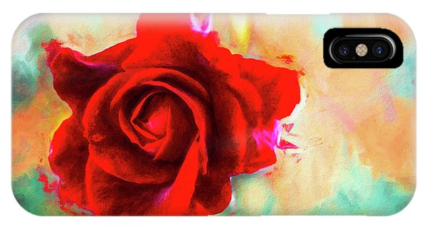 Painted Rose On Colorful Stucco IPhone Case