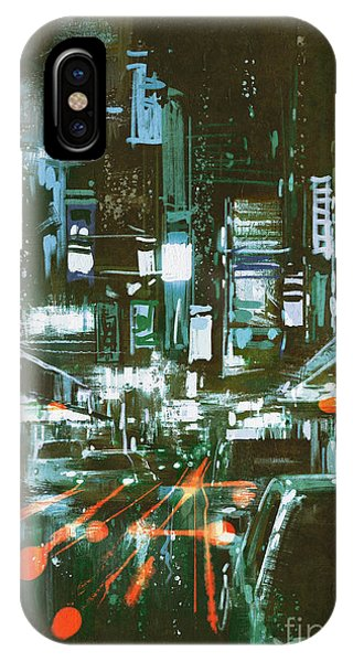 Light Speed iPhone Case - Painting Of Car Taillights On A City by Tithi Luadthong