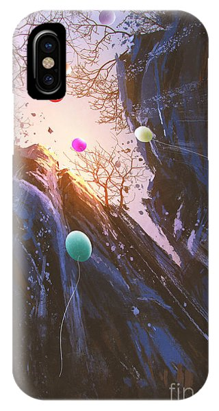 Celebration iPhone Case - Painting Of Colored Balloons Floating by Tithi Luadthong