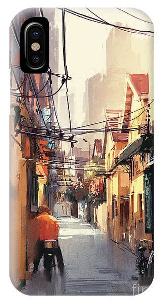 Drawn iPhone Case - Painting Of Narrow Alleyway In Old by Tithi Luadthong