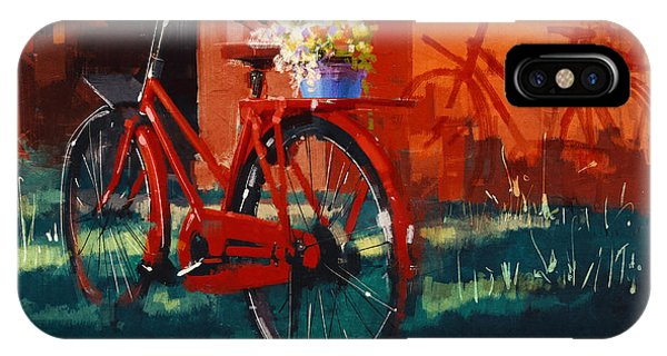 Shadow iPhone Case - Painting Of Vintage Bicycle With Bucket by Tithi Luadthong