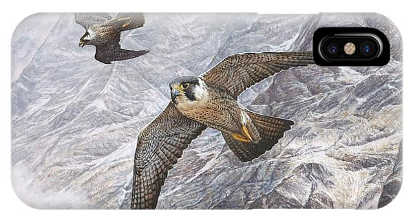 IPhone Case featuring the painting Pair Of Peregrine Falcons In Flight by Alan M Hunt