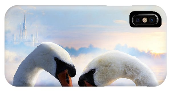 Swan iPhone Case - Pair Of Swans In Love Floating On The by Konstanttin