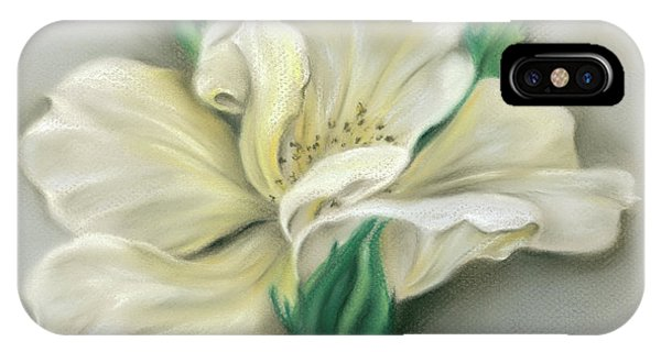 IPhone Case featuring the pastel Pale Yellow Rose And Green Rosebuds by MM Anderson