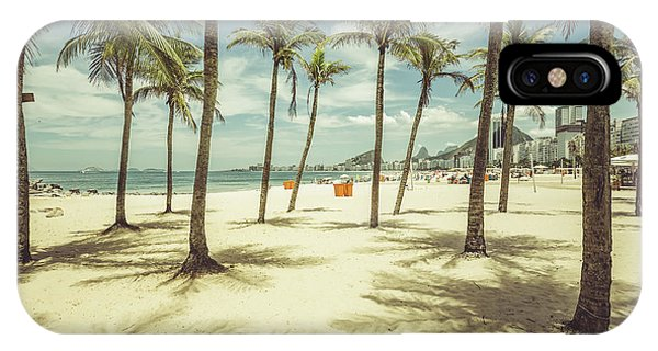 South America iPhone Case - Palms With Shadows On Copacabana Beach by Marchello74