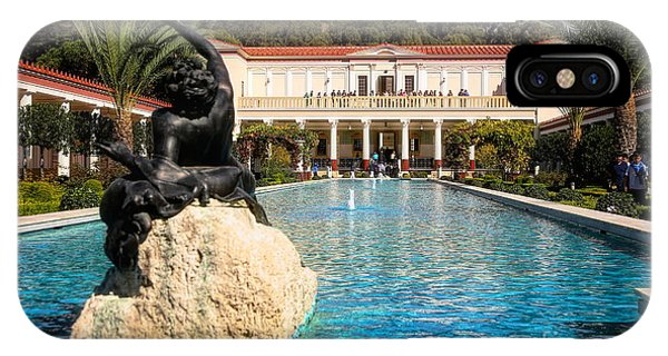 J Paul Getty iPhone Case - Pano View Getty Villa Awesome  by Chuck Kuhn