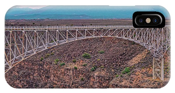 Sangre De Cristo iPhone Case - Panorama Of The Rio Grande Del Norte Gorge Bridge And Sangre De Cristo Mountains - Taos New Mexico by Silvio Ligutti