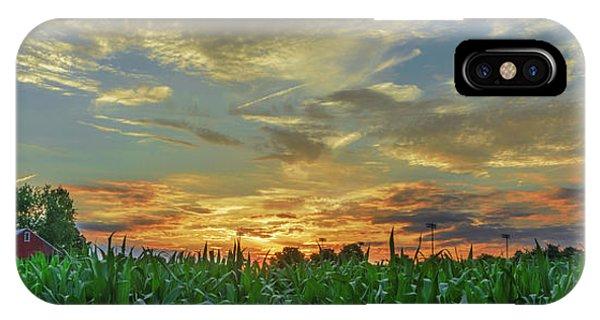 Panoramic Cornfield Sunset IPhone Case