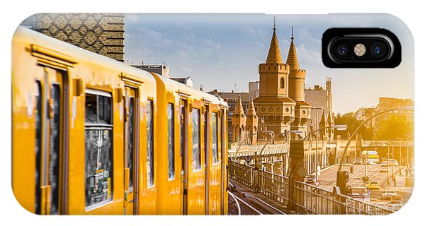 Railroad Station iPhone Case - Panoramic View Of Berliner U-bahn With by Canadastock