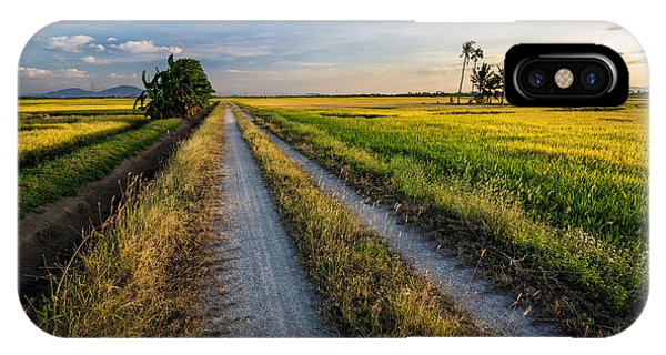 Farmland iPhone Case - Panoramic View Of Paddy View During by Rizal Zawawi
