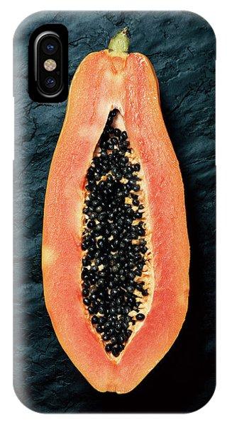 Tint iPhone Case - Papaya Cross-section On Dark Slate by Johan Swanepoel