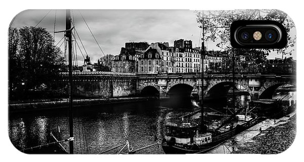 Paris At Night - Seine River Towards Pont Neuf IPhone Case