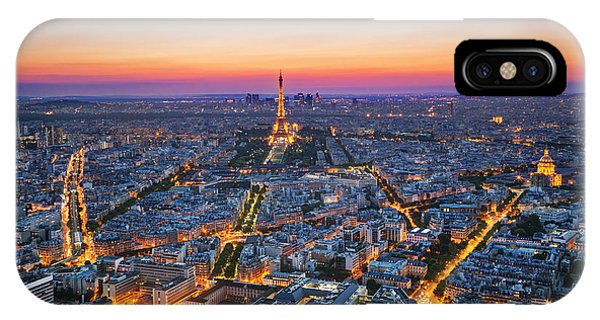 Beautiful Sunrise iPhone Case - Paris, France At Sunset. Aerial View On by Photocreo Michal Bednarek