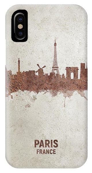 Paris iPhone Case - Paris France Rust Skyline by Michael Tompsett