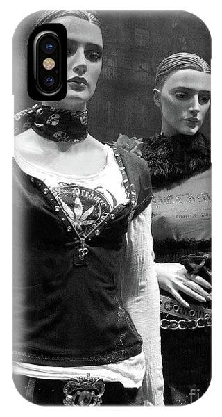 Window Shopping iPhone Case - Paris Mannequins - Paris Black White Fashion Window Mannequins - Paris Window Mannequin Art Deco by Kathy Fornal