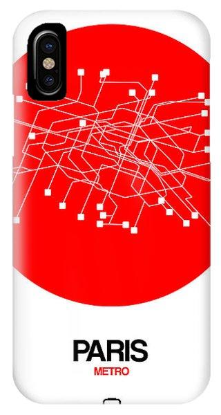 Paris iPhone Case - Paris Red Subway Map by Naxart Studio