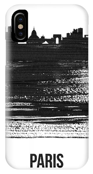 French iPhone Case - Paris Skyline Brush Stroke Black by Naxart Studio