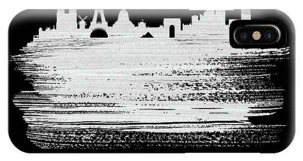 French iPhone Case - Paris Skyline Brush Stroke White by Naxart Studio