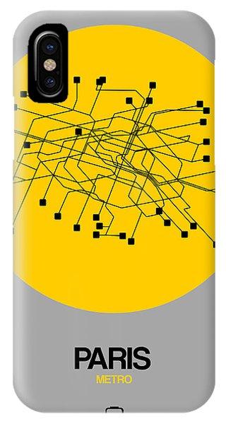Paris iPhone Case - Paris Yellow Subway Map by Naxart Studio