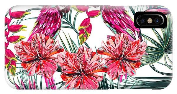 Parrots iPhone Case - Parrots, Tropical Flowers, Palm Leaves by Nataliako