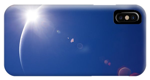 Space iPhone Case - Partial Solar Eclipse With Blue Sky And by Johan Swanepoel