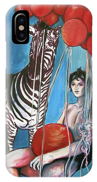 IPhone Case featuring the painting Party Of One Zebra Boy by Rene Capone