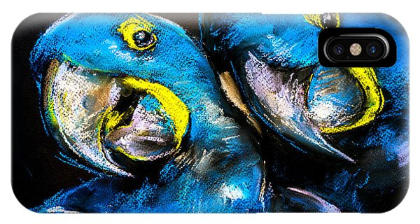 Small iPhone Case - Pastel Painting Of A Blue Parrots On A by Ivailo Nikolov