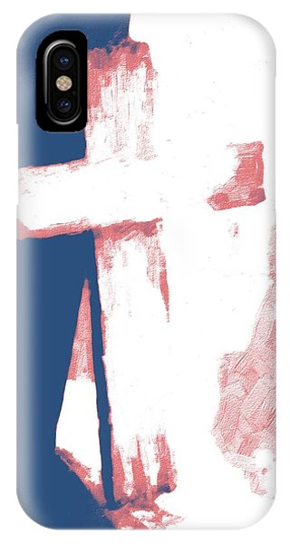 Old Rugged Cross iPhone Case - Patriotic Cross 2 by Cathy Lindsey