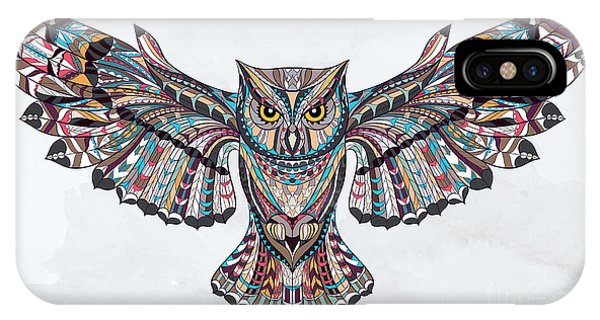 Strength iPhone Case - Patterned Owl On The Grunge Background by Ksyu Deniska