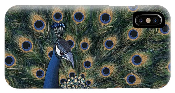 iPhone Case - Peacock Digital Change1 by Joan Stratton