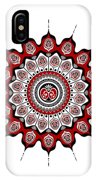 Peacock Feathers Mandala In Black And Red IPhone Case