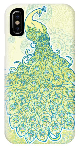 Mandala iPhone Case - Peacock With Tail Feathers In Front Of by Artplay