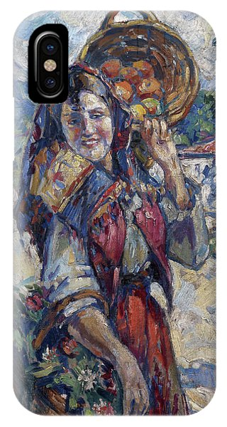 Russian Impressionism iPhone Case - Peasant Girl With Fruit And Flowers by Konstantin Korovin