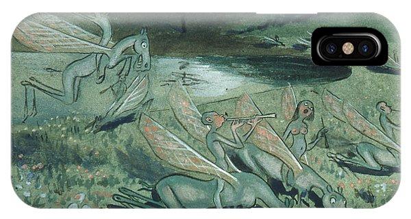 IPhone Case featuring the drawing Pegasus Vulgaris by Ivar Arosenius