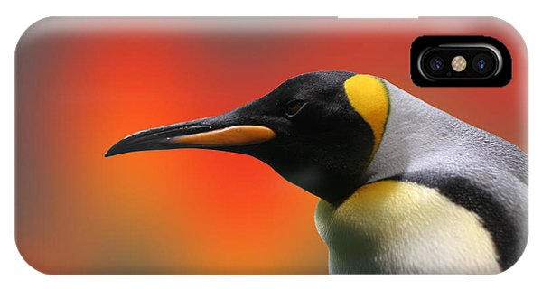 Background iPhone Case - Penguin With A Modified Background by Nik Frey