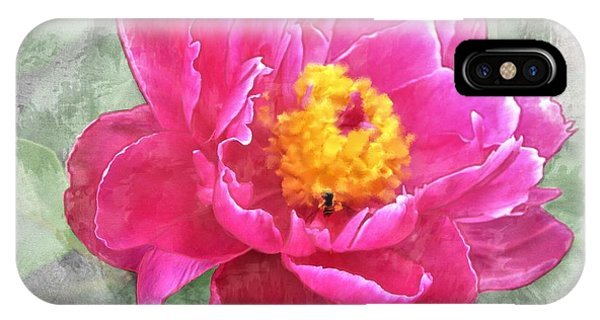 Peony And Bee IPhone Case