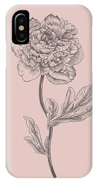 Bouquet iPhone X Case - Peony Blush Pink Flower by Naxart Studio