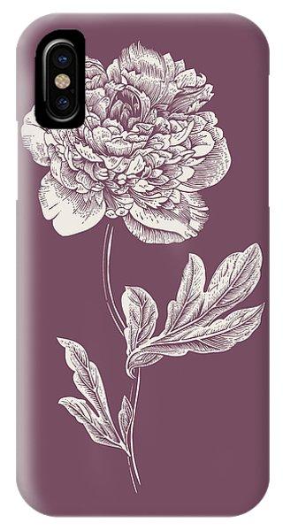 Bouquet iPhone X Case - Peony Purple Flower by Naxart Studio