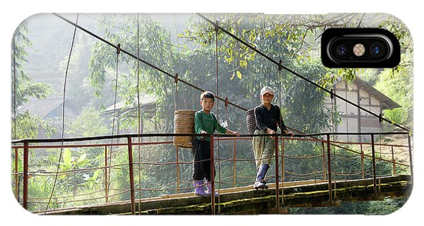People And Children From Sapa, Mountainous Area Of Northern Vietnam In Their Daily Life. IPhone Case