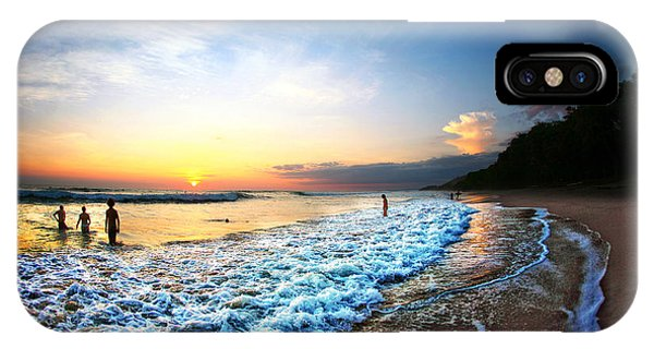 Dusk iPhone Case - People Swimming In Ocean During Sunset by N K
