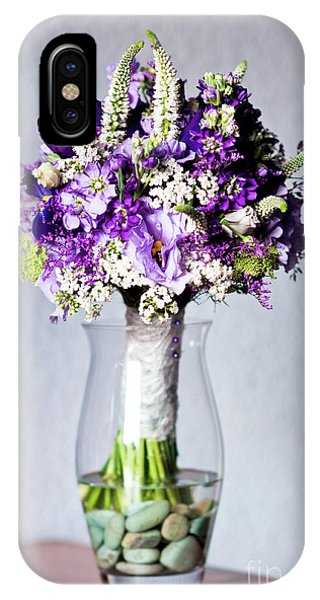 Perfect Bridal Bouquet For Colorful Wedding Day With Natural Flowers. IPhone Case