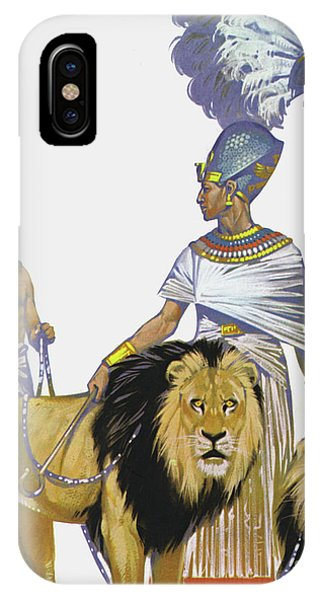Pharaoh iPhone Case - Pharaoh Rameses II Of Egypt And His Lions by Angus McBride