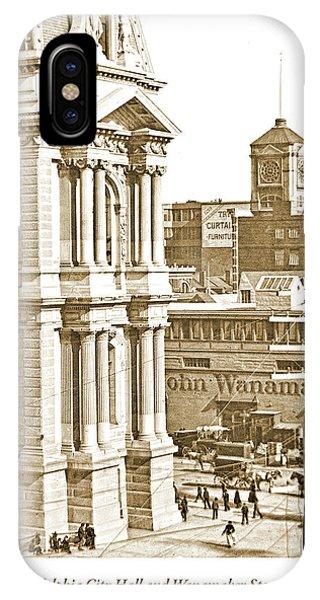 Philadelphia City Hall And Wanamaker Store C 1900 Vintage Photog IPhone Case